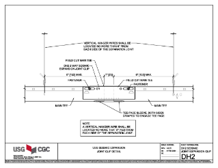 USG Seismic Expansion Joint Clip CAD Detail (English)