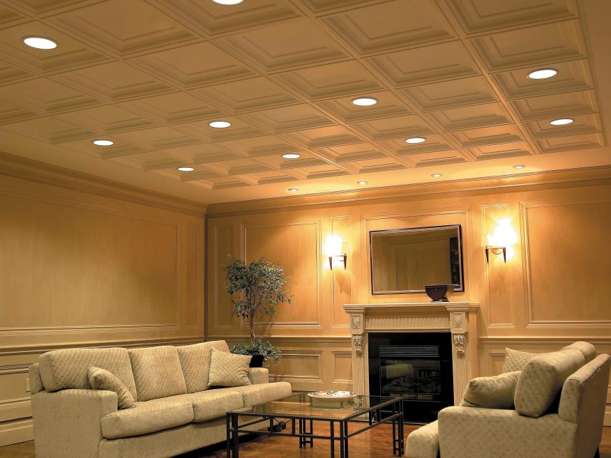 Elegance Coffered Sculpted Ceiling Panels